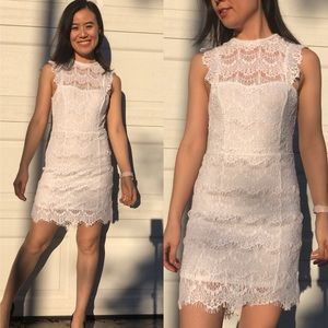 NWT Free People Open Back White Lace Mini Dress XS
